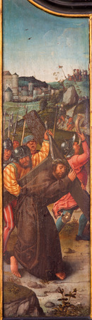 triptych: MECHELEN, BELGIUM - JUNE 14, 2014: Jesus caries his cross as panel of The Veronica and womens under Carvary triptych by unkonwn painter of Falmisch school in st. Katharine church or Katharinakerk.