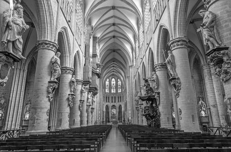 nave: BRUSSELS, BELGIUM - JUNE 16, 2014: Nave of gothic cathedral of Saint Michael and Saint Gudula.