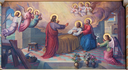 st  joseph: VIENNA, AUSTRIA - FEBRUARY 17, 2014: Fresco of the death of st. Joseph by Josef Kastner from 1906 - 1911 in Carmelites church in Dobling. Editorial