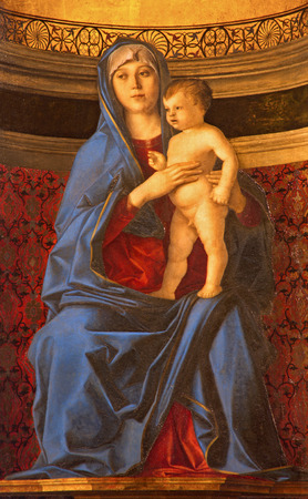 religiosity: VENICE, ITALY - MARCH 12, 2014: Madonna della Misericordia from sacristy of church Basilica di Santa Maria Gloriosa dei Frari by unknown painter from Venice (15. cent.). Editorial