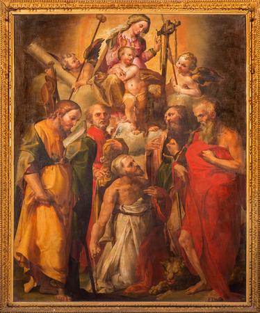 f 15: BOLOGNA, ITALY - MARCH 15, 2014: Altar in Oratorio de Batutti with the paint of Madonna with the saints by G. F. Bezzi 1564 (nickname Nosadella) in complex of baroque church Santa Maria della Vita. Editorial
