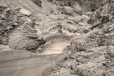 calcite: Alps beck under the Hochkonig peak in the calcite rock - Austria