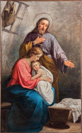 fine art: BERGAMO, ITALY - SEPTEMBER 8, 2014: The paint of Holy Family from church Santa Maria Immacolata delle Grazie by Abramo Spinelli (1900).