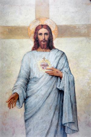 PADUA, ITALIË - 8 september 2014: Het hart van Jezus Christus verf in de kathedraal van Santa Maria Assunta (Duomo) van R. Mulata van 20 cent. Redactioneel