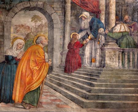 PADUA, ITALY - SEPTEMBER 8, 2014: The Presentation in the Temple fresco in the church San Francesco del Grande in chapel Cappella di Santa Maria della Carita by Girolamo Tessari (1523 - 24) Editorial