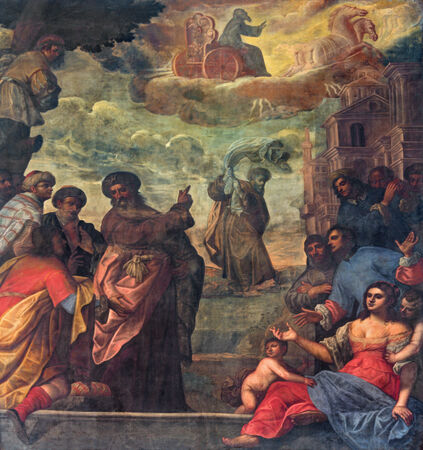 cf: PADUA, ITALY - SEPTEMBER 9, 2014: Pain of scene as prophet Elijah  ascend to heaven in a chariot cf fire and Elisha with the his coat in church Basilica del Carmine from 17. cent by unknown painter.