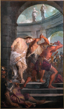 flagellation: PADUA, ITALY - SEPTEMBER 10, 2014: Paint of the Flagellation of Jesus in the church Chiesa di San Gaetano and the chapel of the Crucifixion by unknown painter form 17th century