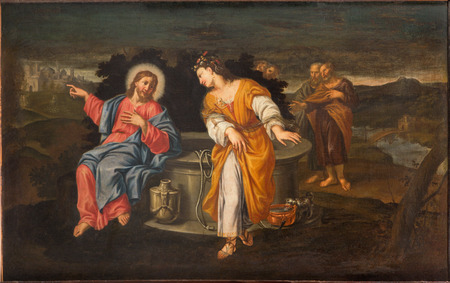 samaritans: PADUA, ITALY - SEPTEMBER 10, 2014: Paint of Jesus and Samaritans at well scene in the church Chiesa di San Gaetano and the chapel of the Crucifixion by unknown painter form 17. cent.