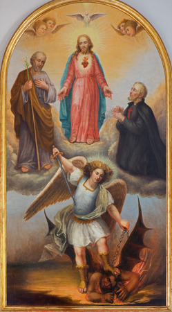 michael the archangel: PADUA, ITALY - SEPTEMBER 10, 2014: The paint of The Heart of Jesus, archangel Michael and other saints from 19. cent. by unknown painter in side chapel of church chiesa di Santa Maria del Torresino.