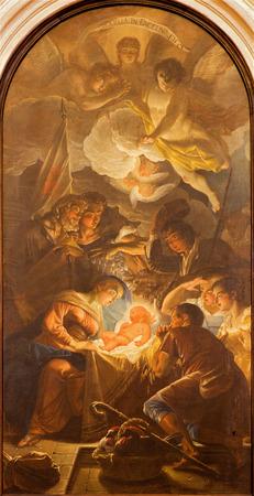 nascita di gesu: PADOVA, ITALIA - 10 SETTEMBRE 2014: L'Adorazione dei pastori di Guido Cirello (1633-1709) nella chiesa di Chiesa di Santa Maria del Torresino.