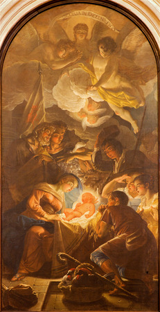 PADUA, ITALY - SEPTEMBER 10, 2014: The Adoration of the Shepherds by Guido Cirello (1633 - 1709) in church chiesa di Santa Maria del Torresino.