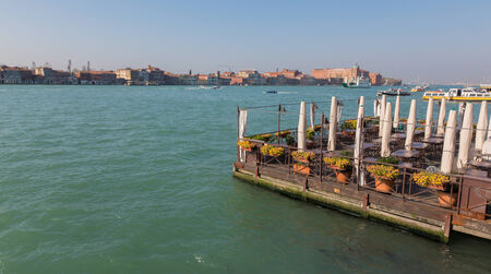 restauration: VENICE, ITALY - MARCH 12, 2014: The Restauration on the waterfront Fondamenta Zattere ponte lungo.