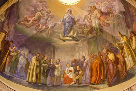 "dogma: BERGAMO, ITALY - SEPTEMBER 8, 2014: The main apse of church Santa Maria Immacolata delle Grazie with the frosco ""The Proclamation of dogma of Immacolate conception"" by Cesare Maironi from 19. cent."