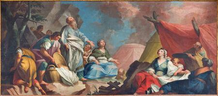 eucharistie: Padoue, Italie - 8 septembre 2014: Peinture de stcene - Moïse et le Rassemblement Israélites de Manna forme 16. cent. peintre inconnu dans la cathédrale de Santa Maria Assunta (Duomo) et la chapelle Eucharistie.