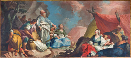 eucharist: PADUA, ITALY - SEPTEMBER 8, 2014: Paint of stcene - Moses and the Israelites Gathering of Manna form 16. cent. by unknown painter  in Cathedral of Santa Maria Assunta (Duomo) and the Eucharist chapel. Editorial
