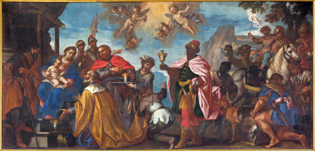 lord jesus: PADUA, ITALY - SEPTEMBER 8, 2014: The paint of the Adoration of Magi scene in Cathedral of Santa Maria Assunta (Duomo) by Francesco Zanella (1671 - 1717). Editorial