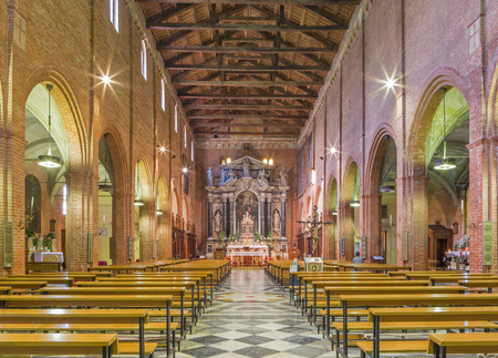 nave: PADUA, ITALY - SEPTEMBER 8, 2014: The nave of church San Benedetto vecchio (Saint Benedict).