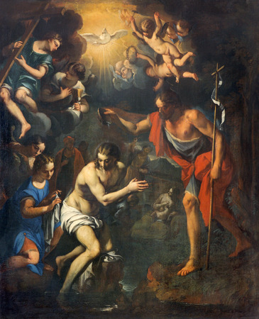 PADUA, ITALY - SEPTEMBER 8, 2014: The pain of The Baptism of Christ scene in church San Benedetto vecchio (Saint Benedict) from 16th century by unknown painter.