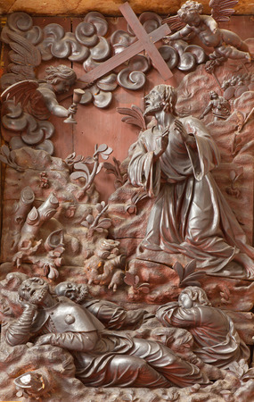 PADUA, ITALY - SEPTEMBER 10, 2014: The carved relief Jesus prayer in Gethsemane garden the sacristy of church Chiesa di San Gaetano by Michele Fabris (nickname lOngaro) from 17. cent.