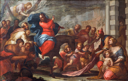 PADUA, ITALY - SEPTEMBER 10, 2014: Paint of Jesus entry into Jerusalem (Palm Sunday) in the church Chiesa di San Gaetano and the chapel of the Crucifixion by unknown painter form 17. cent.