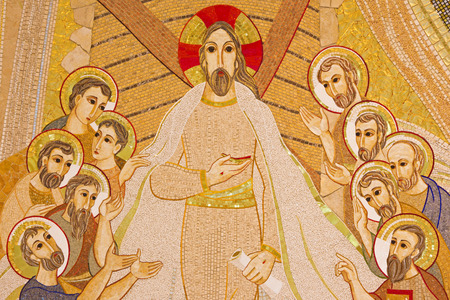 BRATISLAVA , SLOVAKIA - OCTOBER 1, 2014_ The mosaic of resurrected Christ among the apostles in the Saint Sebastian cathedral designed by jesuit Marko Ivan Rupnik (2011). Stock Photo - 32195489