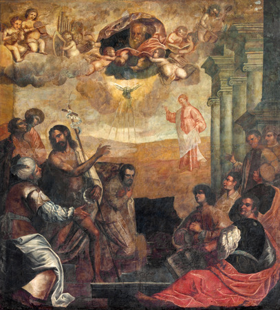 PADUA, ITALY - SEPTEMBER 9, 2014: The ecce agnus dei (St. John the Baptist shows to Christ as the Redeemer). Painting in church Basilica del Carmine by unknown painter from 17. cent.