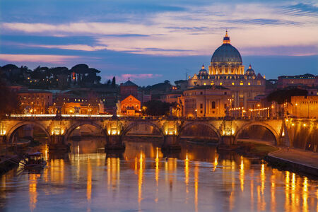 st  peter s  basilica: Rome - Angels bridge and St. Peter s basilica in evening