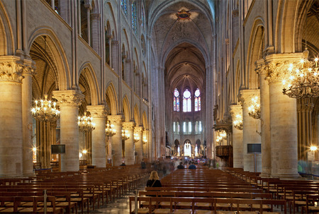 nave: PARIS - JUNE 17: Nave of Notre Dame cathedral on June 17, 2013 in Paris