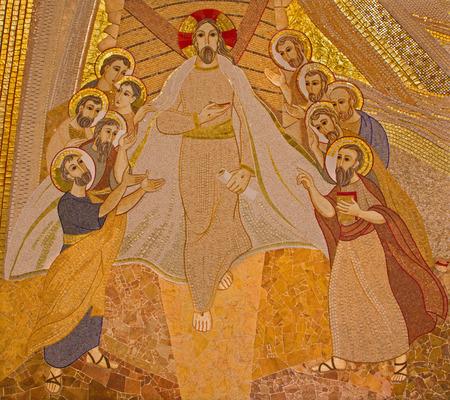 jesuit: BRATISLAVA , SLOVAKIA - OCTOBER 1, 2014_ The mosaic of resurrected Christ among the apostles in the Saint Sebastian cathedral designed by jesuit Mar?ko Ivan Rupnik (2011).