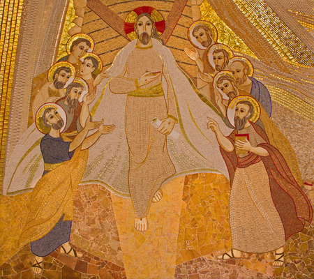 BRATISLAVA , SLOVAKIA - OCTOBER 1, 2014_ The mosaic of resurrected Christ among the apostles in the Saint Sebastian cathedral designed by jesuit Mar?ko Ivan Rupnik (2011).