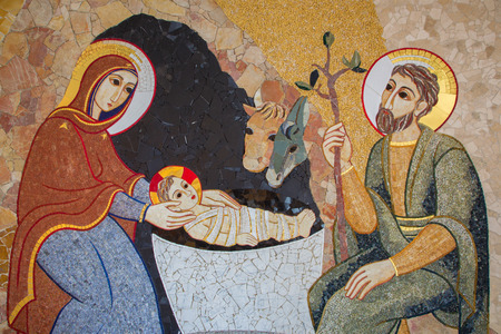 mary mother of jesus: BRATISLAVA , SLOVAKIA - OCTOBER 1, 2014_ The mosaic of Nativity in the baptistery of the Saint Sebastian cathedral designed by jesuit Mar?ko Ivan Rupnik (2011).