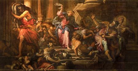 VENICE, ITALY - MARCH 12, 2014: Paint of Jesus Cleanses the Temple (Cacciata dei profanatori dal tempio) scene (1678) in church Chiesa di San Pantalon by Giovanni Antonio Fumiani.