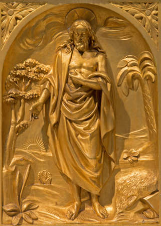 st jacques: BRUSSELS, BELGIUM - JUNE 15, 2014:The relief of resurrected Christ on the side altar from 19. cent. in the church of St. Jacques at The Coudenberg. Editorial