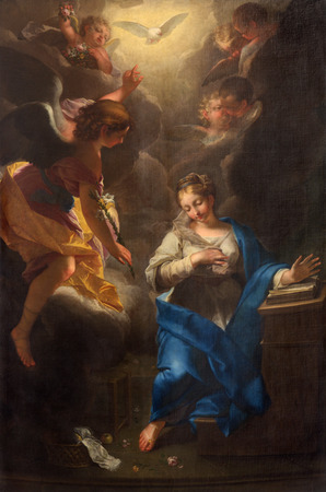 PADUA, ITALY - SEPTEMBER 9, 2014: The paint of Annunciation by Jean Raoux in the church Cathedral of Santa Maria Assunta (Duomo) from 18. cent. Sajtókép