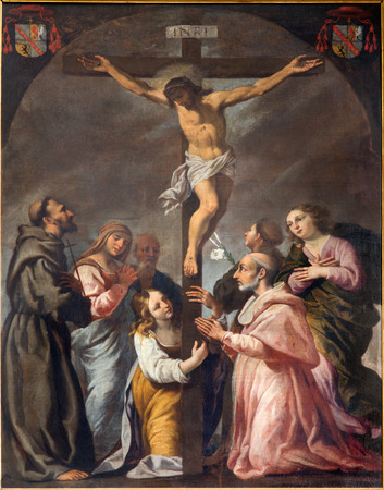 lord jesus: PADUA, ITALY - SEPTEMBER 9, 2014: The Crucifixion and the saints in the church Cathedral of Santa Maria Assunta (Duomo) by unknown painter of 17. cent. Editorial