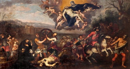 tortured: PADUA, ITALY - SEPTEMBER 9, 2014: The paint of scene The Lady of Sorrows healing a tortured man by Matteo Ghidoni (1626 - 1689) in church Santa Maria dei Servi.