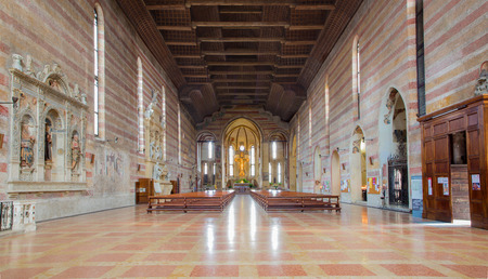 nave: PADUA, ITALY - SEPTEMBER 9, 2014: The nave of church Chiesa degli Eremitani (Church of the Eremites).