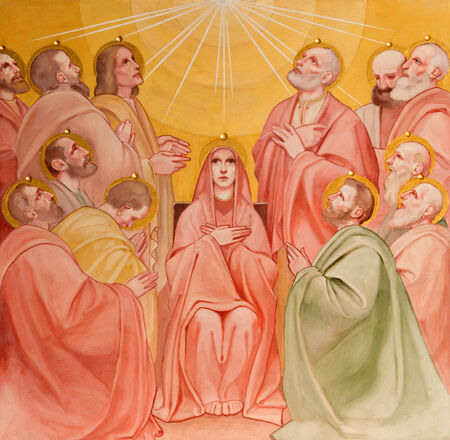 PADUA, ITALY - SEPTEMBER 9, 2014: The fresco of the Pentecost scene in church Basilica del Carmine from 1933 by Antonio Sebastiano Fasal. 에디토리얼
