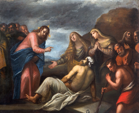PADUA, ITALY - SEPTEMBER 10, 2014: Paint of the Resurrection of Lazarus scene in the church Chiesa di San Gaetano and the chapel of the Crucifixion by unknown painter from 17th century