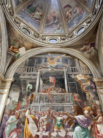 religiosity: Milan - cupola and side fresco of Cappella Fopa - San Mark church by Paolo Lomazzo
