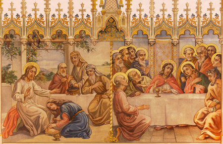 neogothic: TRNAVA, SLOVAKIA - OCTOBER 14, 2014: The neo-gothic fresco of fhe Last supper and Jesus and sinful woman by Leopold Bruckner (1905 - 1906) in Saint Nicholas church.