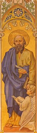TRNAVA, SLOVAKIA - OCTOBER 14, 2014: The neo-gothic fresco of st. Matthew the evangelist by Leopold Bruckner (1905 - 1906) in Saint Nicholas church.