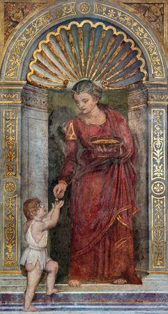 almsgiving: PADUA, ITALY - SEPTEMBER 8, 2014: The fresco of Love cardinal virute in chapel Santa Maria della Carita by Dosso Dossi (1486 - 1542) in the church San Francesco del Grande.