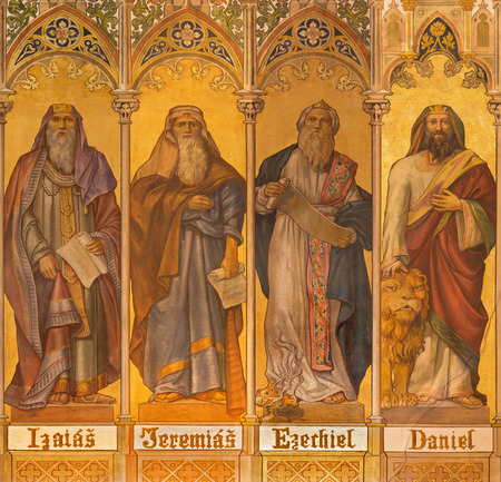 TRNAVA, SLOVAKIA - OCTOBER 14, 2014: The neo-gothic fresco of big prophets Isaiah, Jeremiah, Ezekiel, Daniel by Leopold Bruckner (1905 - 1906) in Saint Nicholas church. Redactioneel