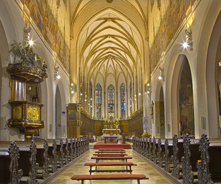 nave: TRNAVA, SLOVAKIA - OCTOBER 14, 2014: The nave of the gothic St. Nicholas church. Editorial