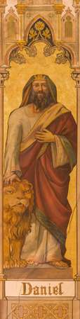 jewry: TRNAVA, SLOVAKIA - OCTOBER 14, 2014: The neo-gothic fresco of prophet Daniel by Leopold Bruckner (1905 - 1906) in Saint Nicholas church.
