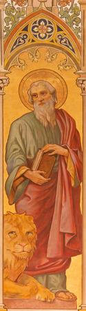 TRNAVA, SLOVAKIA - OCTOBER 14, 2014: The neo-gothic fresco of st. Mark the evangelist by Leopold Bruckner (1905 - 1906) in Saint Nicholas church.