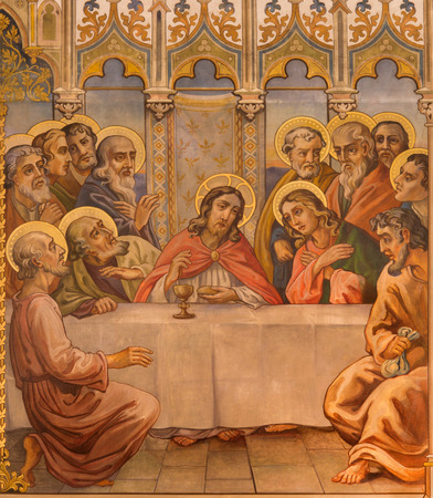 last supper: TRNAVA, SLOVAKIA - OCTOBER 14, 2014: The neo-gothic fresco of fhe Last supper by Leopold Bruckner (1905 - 1906) in Saint Nicholas church.