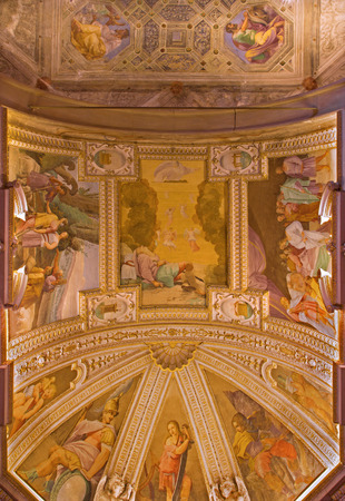 bosco: BOLOGNA, ITALY - MARCH 17, 2014: The ceiling fresco in chapel of the sacristy in baroque church San Michele in Bosco with the Old Testaments scenes.