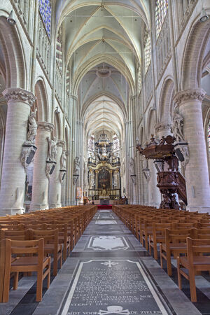 the church of our lady: MECHELEN, BELGIUM - JUNE 14, 2014: The church Our Lady across de Dyle.